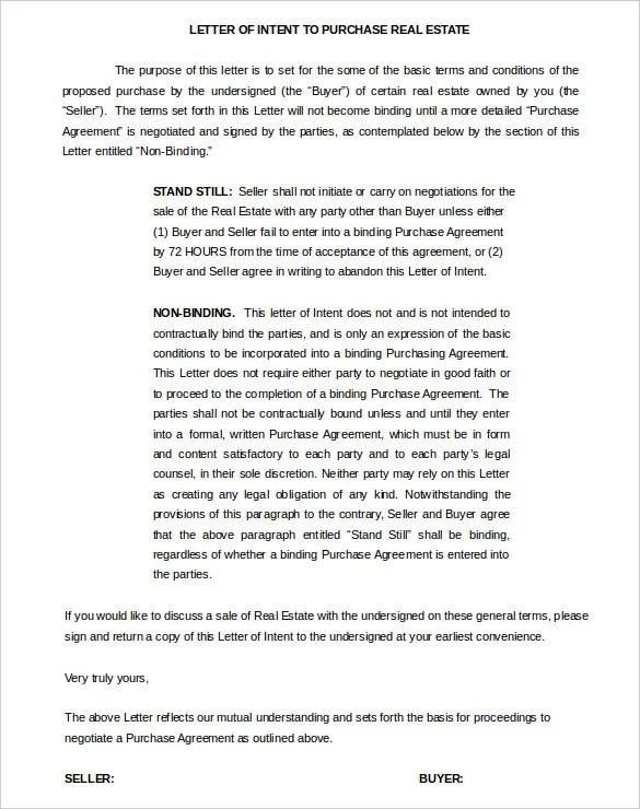 11+ Real Estate Letter of Intent Templates - PDF, DOC Free