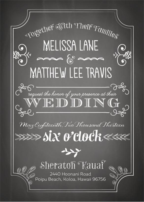 26+ Chalkboard Wedding Invitation Templates \u2013 Free Sample, Example - chalk board invitation template