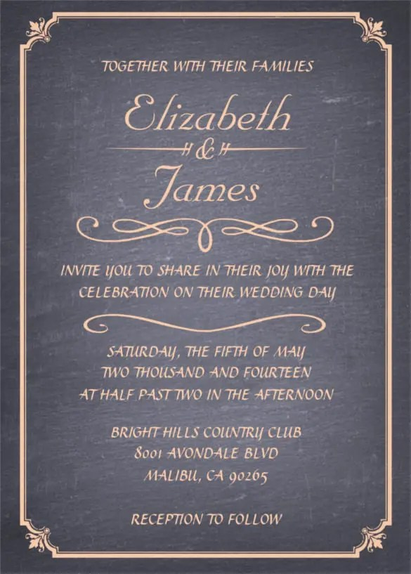 26+ Chalkboard Wedding Invitation Templates \u2013 Free Sample, Example - chalk board invitation template