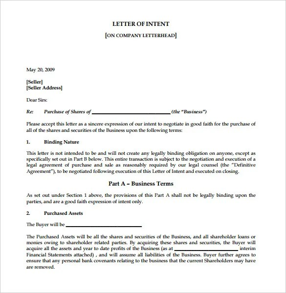 Non Binding Letter Of Intent To Purchase Business | Authorization