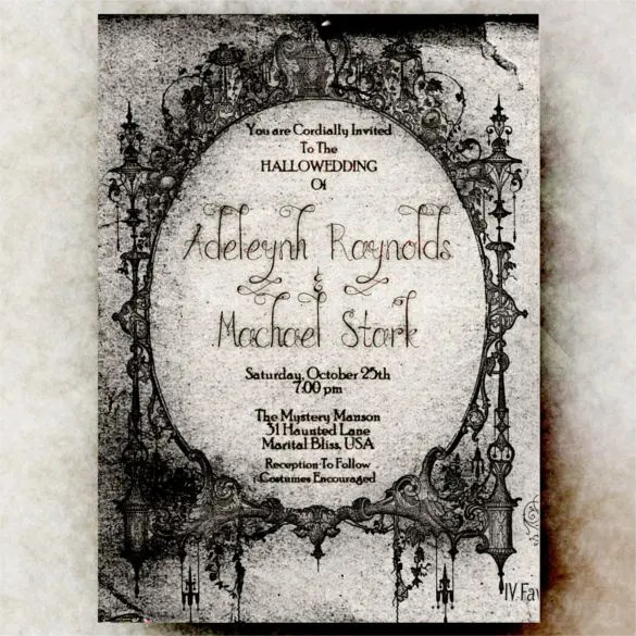 22+ Halloween Wedding Invitation Templates \u2013 Free Sample, Example - halloween invitation template