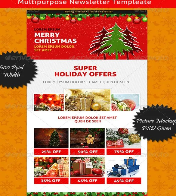 Christmas Newsletter Template \u2013 8 + PSD, PDF Formats Download Free