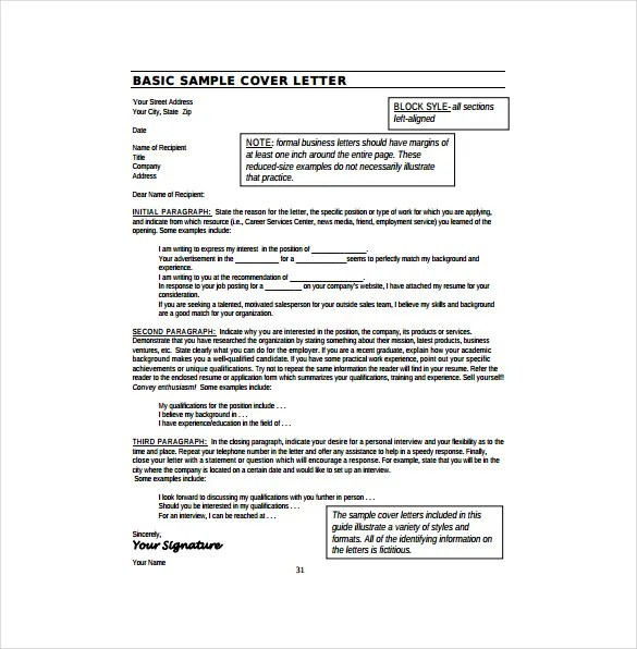 basic sample cover letter - Josemulinohouse - Sample Cover Letter For Resumes