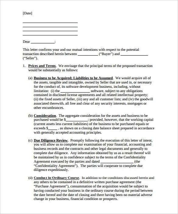 Purchase Letter Of Intent \u2013 10+ Free Word, PDF Format Download