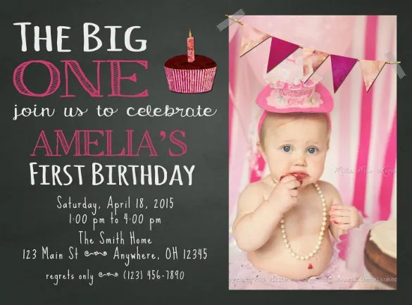 First Birthday Invitation Template \u2013 orderecigsjuiceinfo