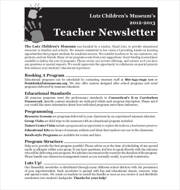Teacher Newsletter Template \u2013 8+ PSD, PDF Formats Download Free