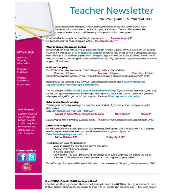 Teacher Newsletter Template u2013 8+ PSD, PDF Formats Download Free - news letter formats