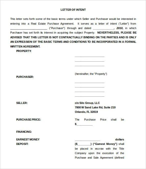 13+ Sample Free Letter of Intent Templates - PDF, Word Free