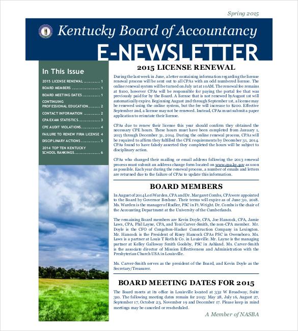 20 sample newsletter templates