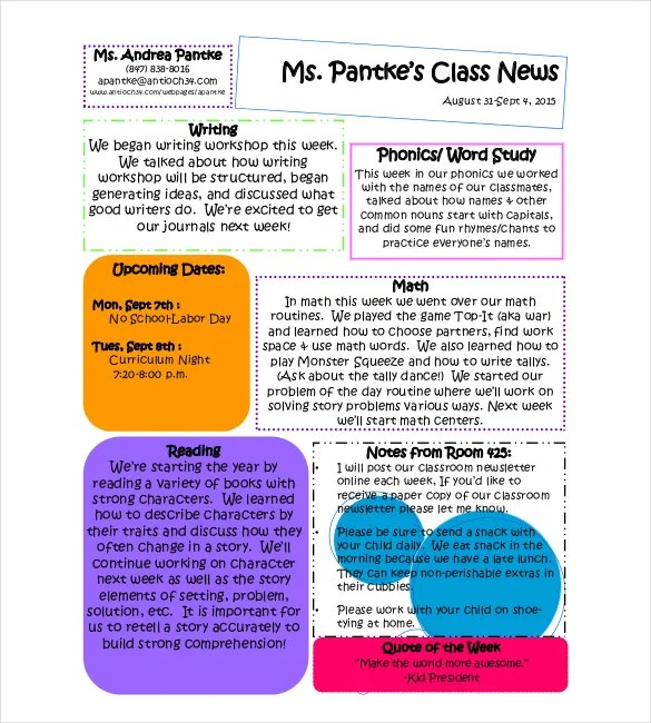 9+ Classroom Newsletter Templates \u2013 Free Sample, Example, Format - example news letter