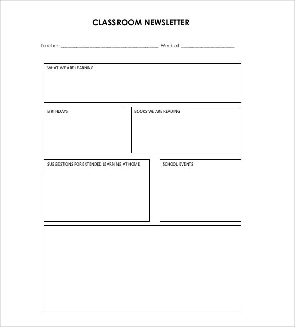 8+ Classroom Newsletter Templates - Free Sample, Example, Format