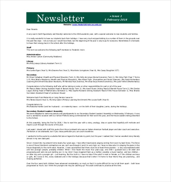 9+ School Newsletter Templates \u2013 Free Sample, Example, Format - Newsletter Format