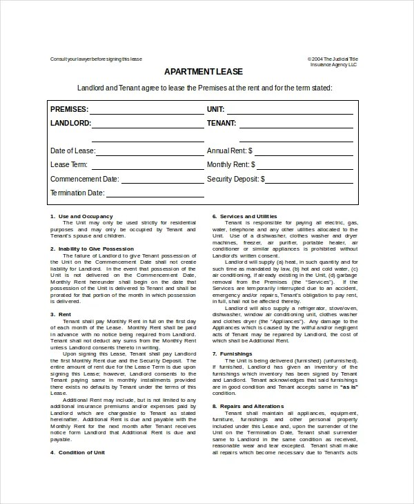Apartment Lease Template - 7+ Free Word, PDF Documents Download - Apartment Lease Templates