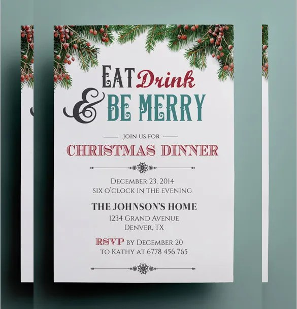21+ Christmas Invitation Templates u2013 Free Sample, Example, Format - dinner invitation template