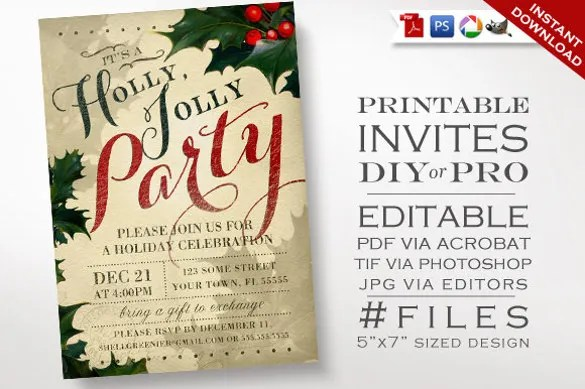 21+ Christmas Invitation Templates \u2013 Free Sample, Example, Format - free holiday party invitation template