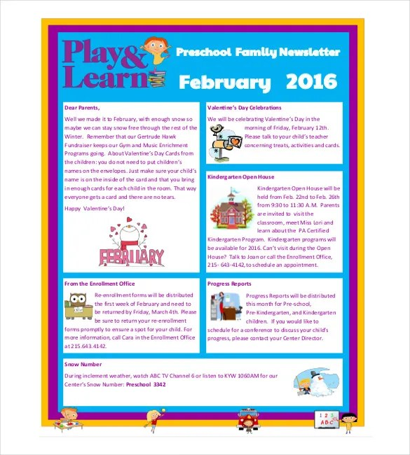 10+ Preschool Newsletter Templates \u2013 Free Sample, Example, Format - kindergarten newsletter template