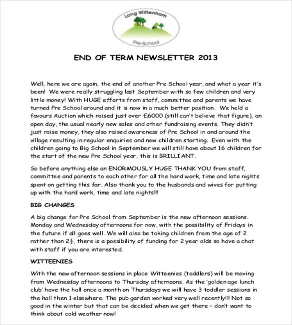 10+ Preschool Newsletter Templates \u2013 Free Sample, Example, Format - preschool newsletter template