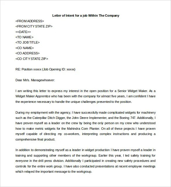 31+ Letter of Intent for a Job Templates - PDF, DOC Free  Premium - letter of intent for a job