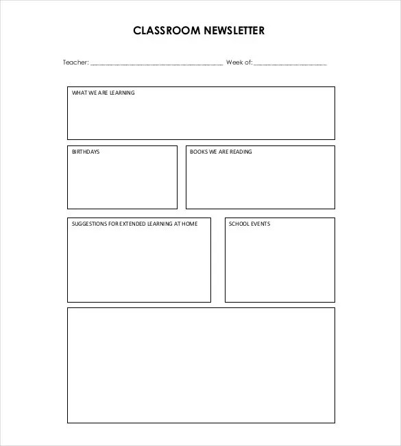 9+ Teacher Newsletter Templates \u2013 Free Sample, Example, Format