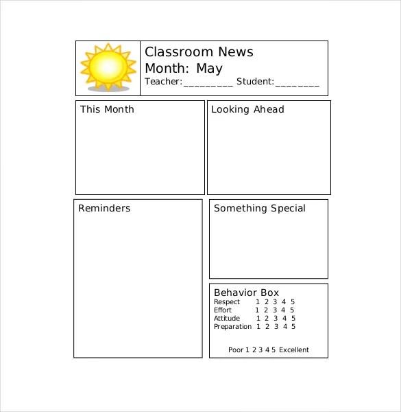 9+ Teacher Newsletter Templates \u2013 Free Sample, Example, Format