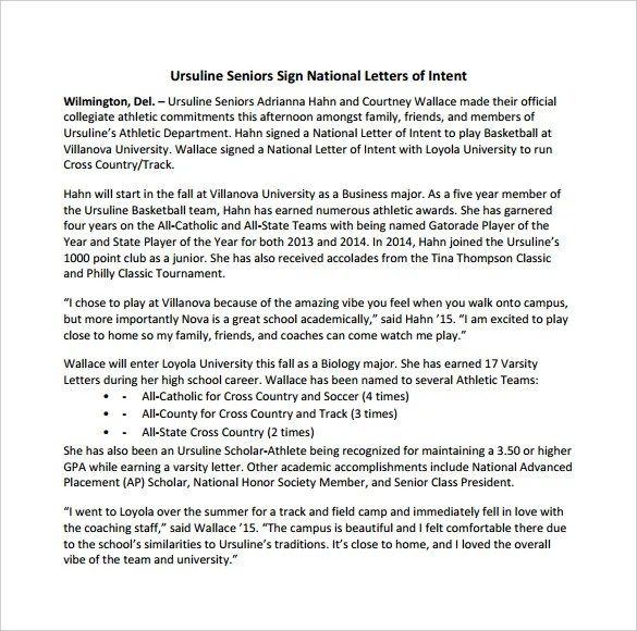 8+ National Letter Of Intent Templates \u2013 Free Sample, Example Format