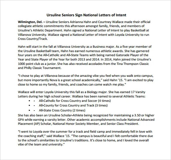 8+ National Letter Of Intent Templates u2013 Free Sample, Example - letter of intent formats