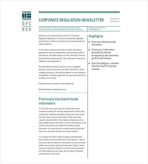11+ Company Newsletter Templates - Free Sample, Example, Format - company information template