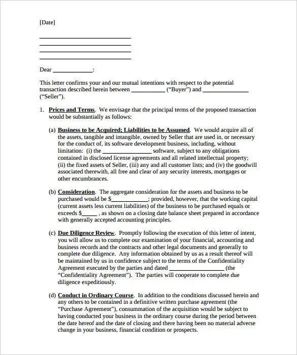 Asset Purchase Agreement Template Sample Letter Of Intent To - sample business purchase agreement