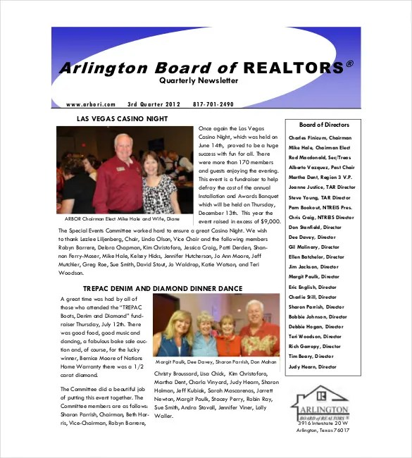 9+ Real Estate Newsletter Templates - Free Sample, Example, Format - sample business newsletter