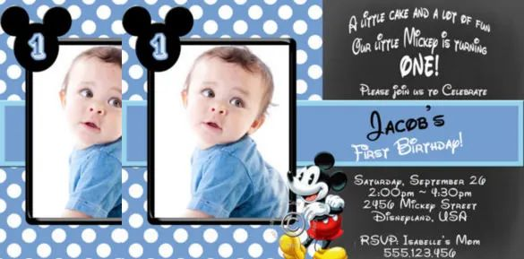 mickey mouse personalized invitations with photo