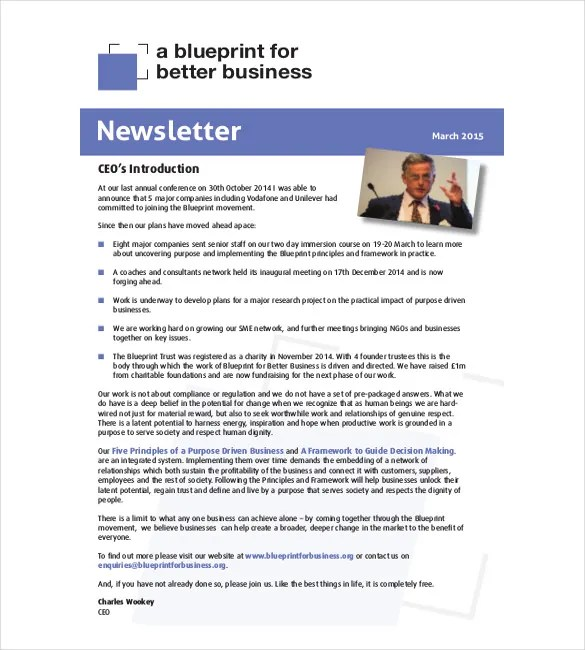 10+ Business Newsletter Templates - Free Sample, Example, Format - company newsletter template free