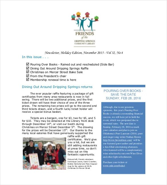 14+ Holiday Newsletter Template \u2013 Free Sample, Example, Format - sample business newsletter