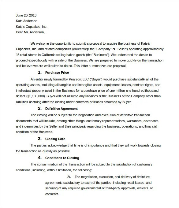 12+ Business Letter Of Intent Templates - PDF, DOC Free  Premium