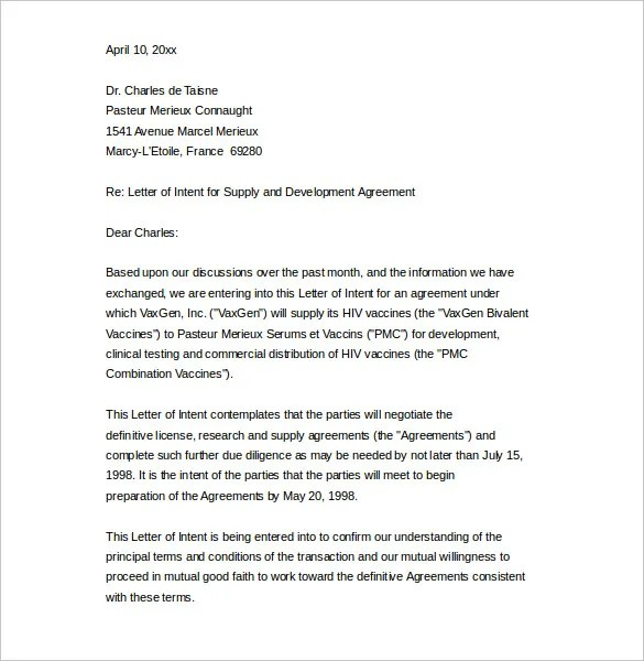 12+ Business Letter Of Intent Templates - PDF, DOC Free  Premium - business letter of intent template