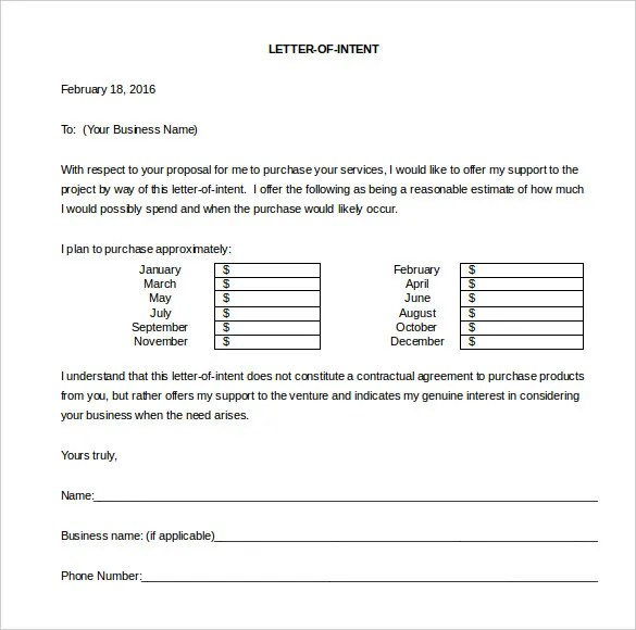 12+ Business Letter Of Intent Templates - PDF, DOC Free  Premium - letter of intent to purchase goods