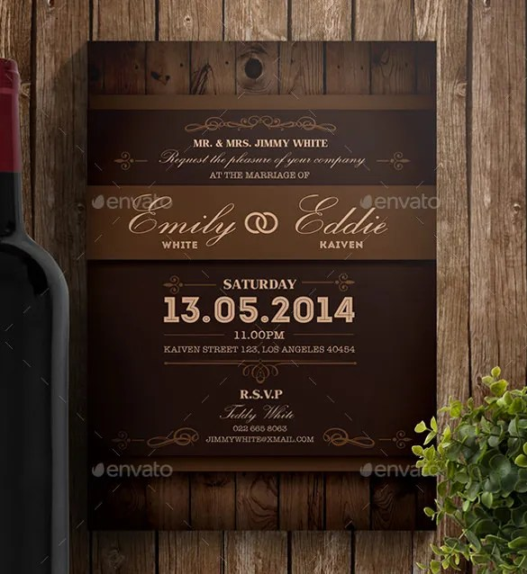 25+ Rustic Wedding Invitation Templates u2013 Free Sample, Example - free download invitation templates