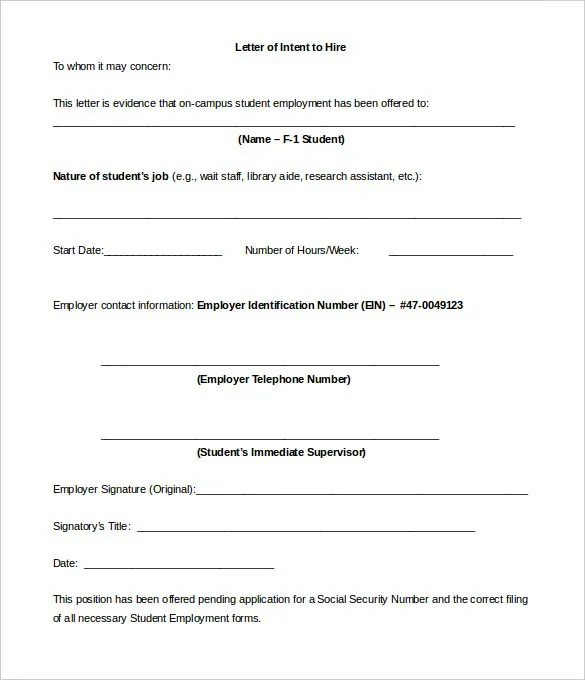 11+ Sample Employment Letter of Intent Templates - PDF, DOC Free - Letter Of Intent Employment Sample
