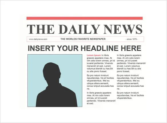Newspaper Front Page Template u2013 10+ Free Word, PPT, EPS Documents - newspaper headline template