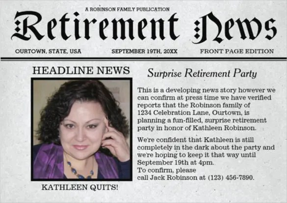 12+ Newspaper Front Page Templates u2013 Free Sample, Example, Format - retirement party flyer template