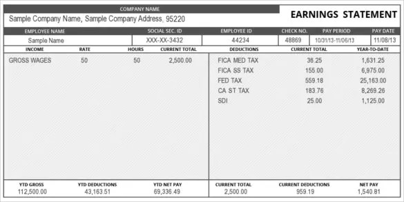Pay Stub Template - 25+ Free Samples, Examples  Formats Download
