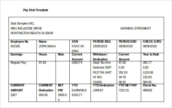 24+ Pay Stub Templates - Samples, Examples  Formats Download - free paycheck stub template word