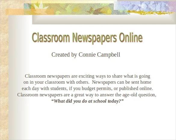 8+ Classroom Newspaper Templates \u2013 Free Sample, Example, Format - online newspaper template