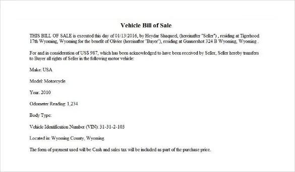 How to Write a Bill of Sale \u2013 Tutorial Free  Premium Templates