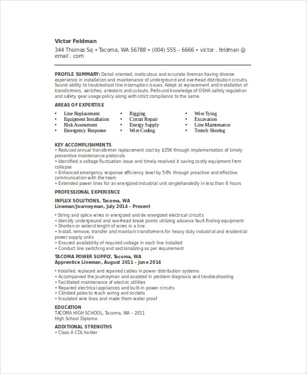 6+ Lineman Resume Templates - PDF, DOC Free  Premium Templates