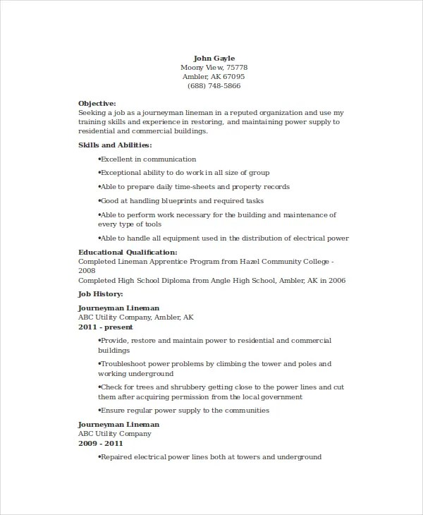 Lineman Resume Template - 6+ Free Word, Documents Download Free - electrical technician resume