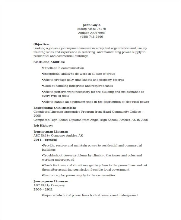 resume examples for lineman