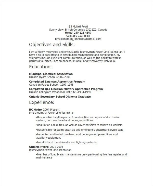 6+ Lineman Resume Templates - PDF, DOC Free  Premium Templates - powerline worker sample resume