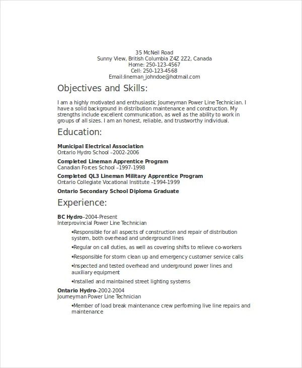 lineman resume professional summary