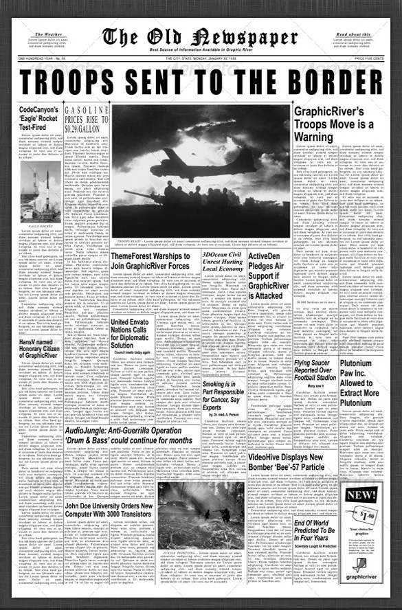 newspaper first page template - Towerssconstruction