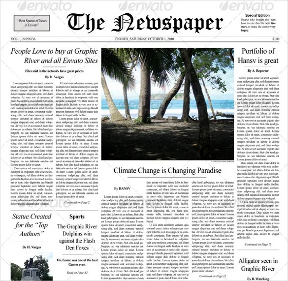 12+ Newspaper Front Page Templates \u2013 Free Sample, Example, Format